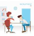employer arranges a survey in hiring tests tasks vector image