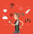 sport woman with headphones social media orange vector image