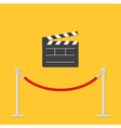 Red rope and open clapping board Flat vector image