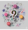 Question mark and collage with web icons vector image