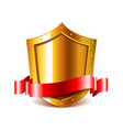 Golden shield with red ribbon isolated vector image vector image