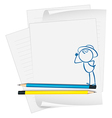 A paper with a drawing of a boy wearing a hat vector image