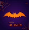bat on purple background happy halloween vector image