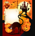 halloween background with wooden sign and black vector image