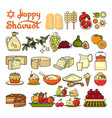 happy shavuot icon set of cute various shavuot vector image