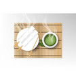 isolated cup of coffee collection green tea with vector image
