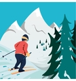 Skier in mountains vector image