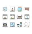 Technology of 3D printing line icons set vector image