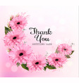 thank you background with pink beautiful flowers vector image