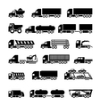 Trucks trailers and vehicles icons set vector image