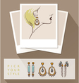 Beautiful woman wearing earrings Mock up with vector image vector image