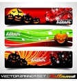 banner set on a halloween theme vector image vector image