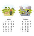 calendar 2018 january february vector image