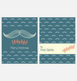 christmas greeting cards with santas mustache vector image