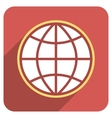 Globe Flat Rounded Square Icon with Long Shadow vector image