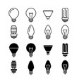 light bulbs line and silhouette icons isolated on vector image