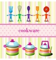 Set of kitchen cookware with space for text vector image
