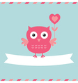 Cute owl Valentines Day card vector image