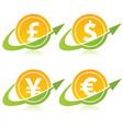 Currency Coins with Arrows vector image