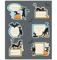 6 Cat Halloween Labels vector image
