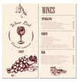 wine menu design vector image