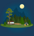 camping night scene with caravan tent and campfire vector image vector image