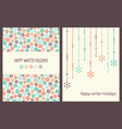 christmas greeting cards with snowflakes vector image