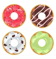 Collection of glazed colored donuts vector image