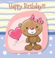 cute teddy bear girl with balloon vector image