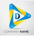 letter d symbol in the colorful triangle vector image