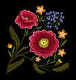 peony embroidery vector image