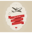 Vintage wedding invitation with retro aircraft vector image