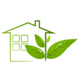 Green eco house logo with leafs and water drops vector image vector image