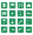 architecture icons set grunge vector image