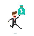businessman holding money bag concept of earnings vector image