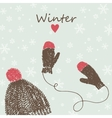 card with knitted cap and mittens vector image