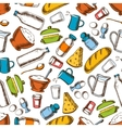 Cooking ingredients seamless pattern background vector image