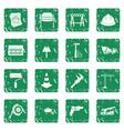architecture icons set grunge vector image