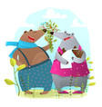 bear family with newborn baby presenting flowers vector image