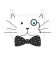 the grumpy cat with bow tie vector image
