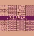 Art deco seamless pattern set retro backgrounds vector image