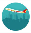airplane above the cityscape vector image