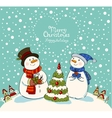 Loving couple of snowmen with gifts beside vector image