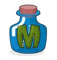 M in bottle Green letter in blue glass jar Magic vector image