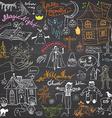 Sketch of halloween design elements with pumpkin vector image