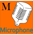 M letter alphabet Coloring microphone vector image