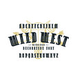 decorative narrow serif font in western style vector image