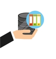 hand holds data folder document icon vector image