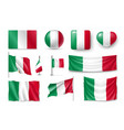 set italy flags banners banners symbols flat vector image