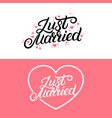 set of just married hand lettering quote vector image